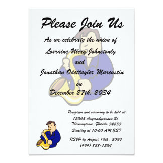 sax player man abstract blue.png 5x7 paper invitation card