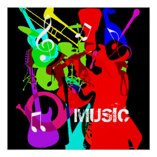 Sax Player Musical Instrument Medley Music Graphic Poster