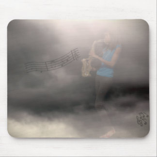 """Sax player, playing up a """"storm"""" mouse pad"""