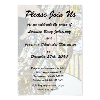 sax player posterized saxophone golden 5x7 paper invitation card