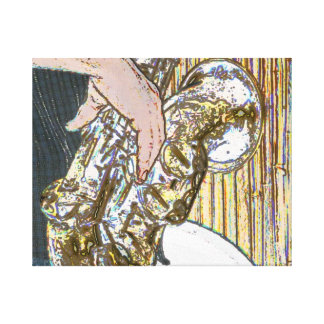 sax player posterized saxophone golden gallery wrapped canvas