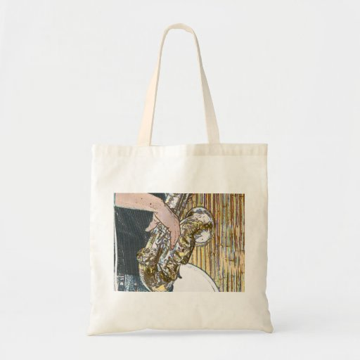 sax player posterized saxophone golden canvas bags