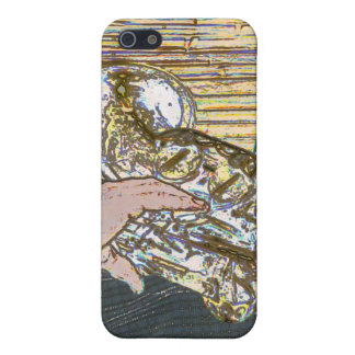 sax player posterized saxophone golden case for iPhone 5