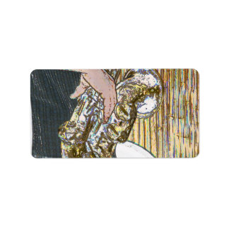 sax player posterized saxophone golden labels