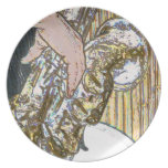 sax player posterized saxophone golden party plate