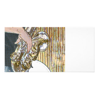 sax player posterized saxophone golden photo cards