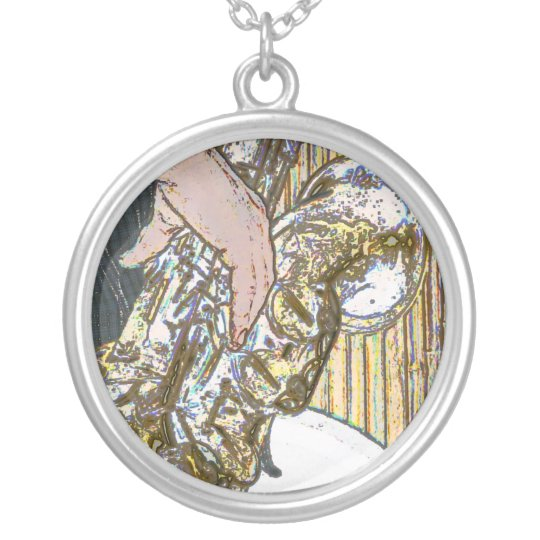 sax player posterized saxophone golden silver plated necklace