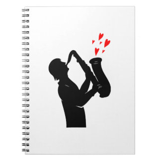 sax player side outline hearts bk.png spiral notebook
