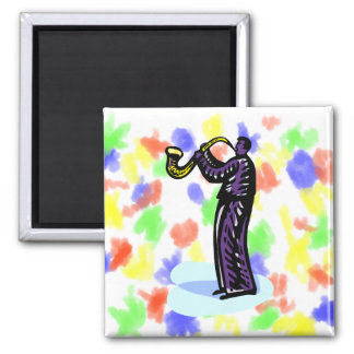 Sax Player Stylized Purple Version 2 Inch Square Magnet