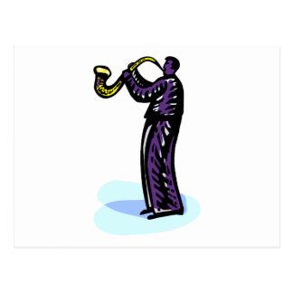 Sax Player Stylized Purple Version Postcard