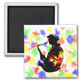 Sax Player Tropical Side View 2 Inch Square Magnet