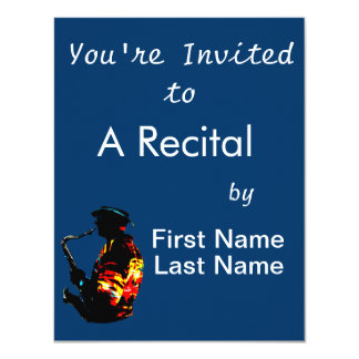 """Sax Player Tropical Side View 4.25"""" X 5.5"""" Invitation Card"""