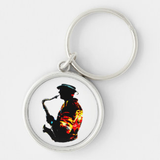 Sax Player Tropical Side View Keychain