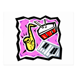Sax Snare and Keys Pink Background Postcard
