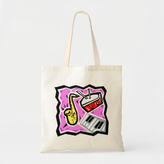 Sax Snare and Keys Pink Background Tote Bag