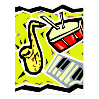 Sax Snare and Keys Yellow Background Postcard