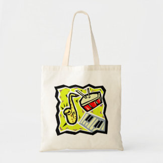 Sax Snare and Keys Yellow Background Tote Bag