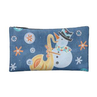 Sax Snowman Making Christmas Holiday Music Makeup Bags