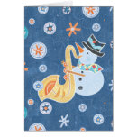 Sax Snowman Making Christmas Holiday Music Card
