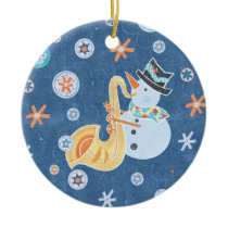 Sax Snowman Making Christmas Holiday Music Ceramic Ornament