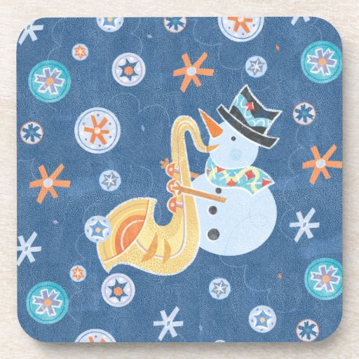 Sax Snowman Making Christmas Holiday Music Beverage Coasters