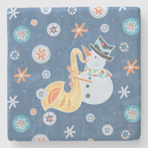 Sax Snowman Making Christmas Holiday Music Stone Beverage Coaster