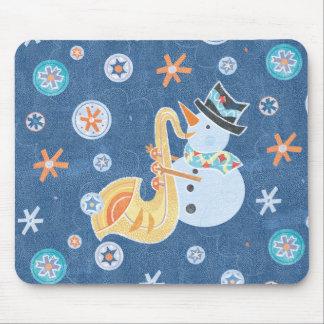 Sax Snowman Making Christmas Holiday Music Mouse Pad