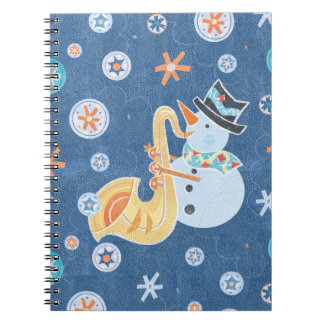 Sax Snowman Making Christmas Holiday Music Notebook