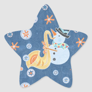 Sax Snowman Making Christmas Holiday Music Star Sticker