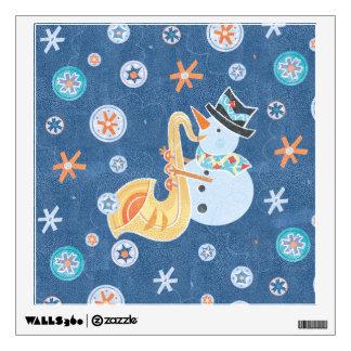 Sax Snowman Making Christmas Holiday Music Wall Decal