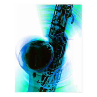 Sax Spin Blue Postcard