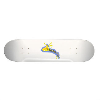 Sax Stylized Yellow Blue Graphic Image Design Skateboard