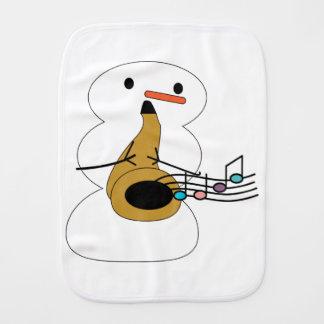 Sax with Snowman Burp Cloth