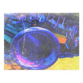 sax yellow blue grunge scratch music design postcard