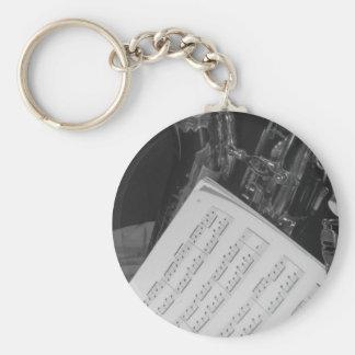 Saxaphone and Sheet Music Keychain