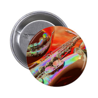 Saxaphone By Lenny Pinback Button
