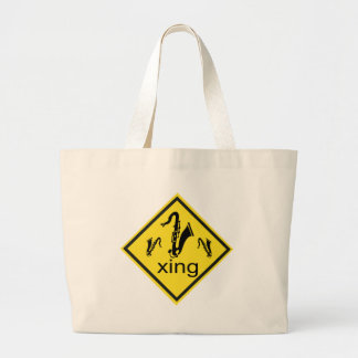 Saxaphone Crossing Traffic Sign Canvas Bags
