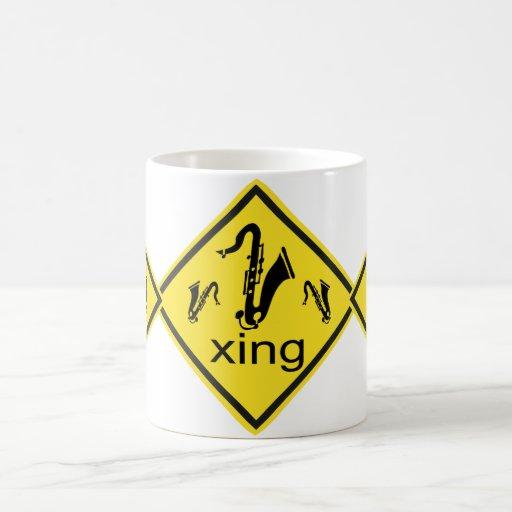 Saxaphone Crossing Traffic Sign Coffee Mug