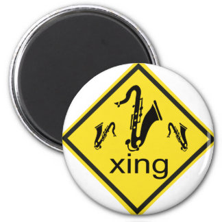 Saxaphone Crossing Traffic Sign Magnet