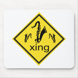 Saxaphone Crossing Traffic Sign Mouse Pad