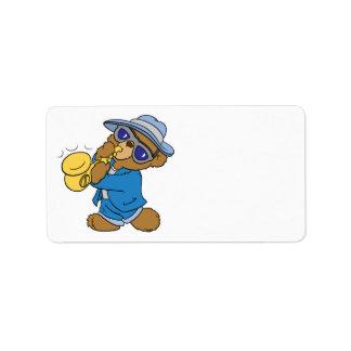 Saxaphone Jazz Blues Bear Address Label