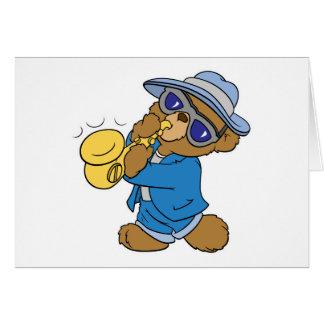 Saxaphone Jazz Blues Bear Card