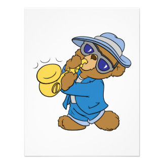 Saxaphone Jazz Blues Bear Custom Invitations