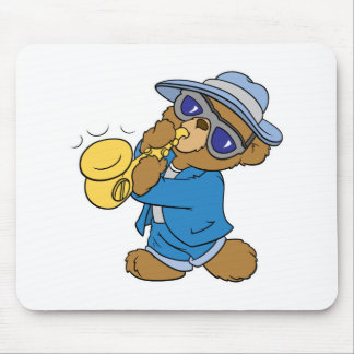 Saxaphone Jazz Blues Bear Mouse Pad