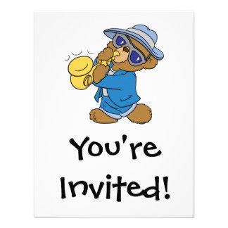 Saxaphone Jazz Blues Bear Personalized Invitations