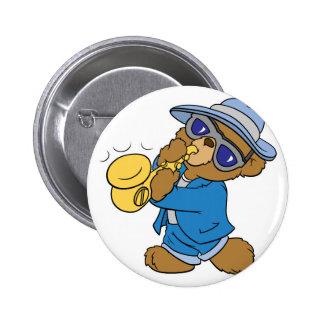 Saxaphone Jazz Blues Bear Pinback Button