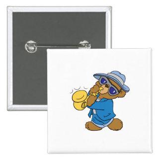 Saxaphone Jazz Blues Bear Pinback Buttons