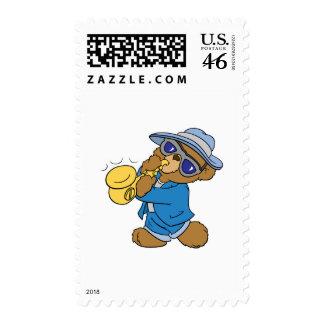 Saxaphone Jazz Blues Bear Postage Stamp