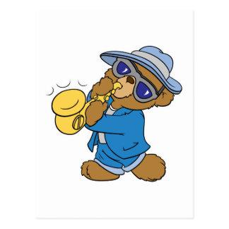 Saxaphone Jazz Blues Bear Postcard
