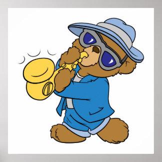 Saxaphone Jazz Blues Bear Posters